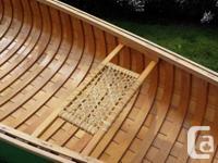 Green 16' wood/canvas prospector style canoe Rarely