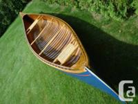 Antique 16' Peterborough cedar, wood canvas canoe.