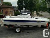 . 16 ft. fiberglass bowrider boat with a 45hp electric