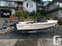 16 ft fibreglass boat set up for fishing on galvanized