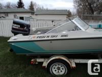with a 150 hp Yamaha ProV outboard motor and trailer.