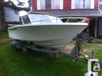 18 ft. boat , motor and trailer. boat   has approx. 5