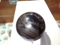 Pyrite with black tourmaline sphere. This beautiful