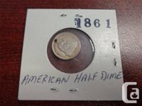 Rare, 1861 U.S.A Fifty percent Dime in quite fine