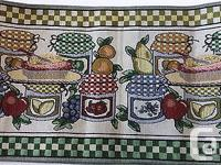 Country Tapestry TABLE RUNNER with colorful preserves