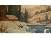This 1947 cabin in winter landscape oil on board was