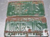 Matching pair of 1956 Saskatchewan Licence Plates. Some