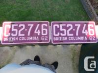 Up for auction today is a pair of BC license plates