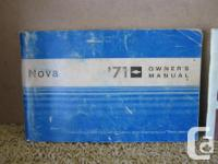 1971 Nova owners manual in great condition, this is a