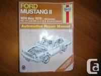 Ford Mustang II Haynes Repair Manual for 1974 thru 1978