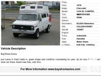 1978 Chevrolet Van 30, Camper, RV, Motor Home, Brand