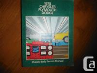 """1978 Chrysler Plymouth Dodge Service Handbook"". OEM"