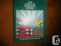 """1978 Chrysler Plymouth Dodge Service Guidebook"". OEM"