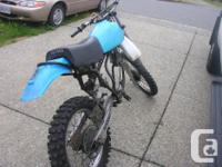 Has a good frame, wheels, tank and seat. Also comes