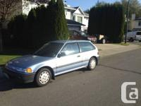 I have a 1990 Honda Civic cx For Sale. It is aircared