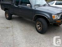 1990 Toyota 4x4 extra cab V6 with canopy/boat rack