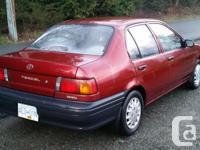 Make. Toyota. Model. Tercel. Year. 1991. Colour. Red.