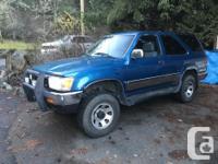 Make Toyota Model 4Runner Year 1992 Colour Blue kms