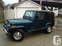 Make Jeep Model YJ Year 1995 Colour green body, black