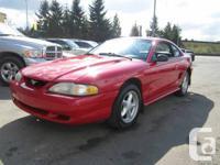 1997 FORD MUSTANG 4.6L V8, RED ON DARK GREY INTERIOR, 5