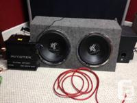 "2 12"" Hifonics Subwoofers, box included, along with a"