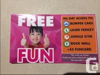 1 card for FREE FUN that gives you all day access to
