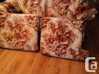 2 cushion chesterfield for sale. Brown tones in color.