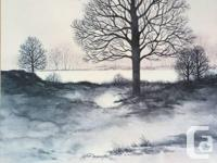 2 - Landscape print of a winter scene with lake, trees