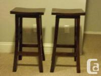 2 Hard Wood Bar Stools - 30 Inches by 15 Inches Paid