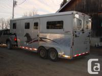 2 horse straight load Gooseneck trailer with ramp for