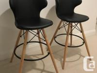 """Two Brianda 26.5"""" Counter Stools in black leather. I"""