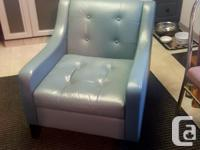 2 Lind Light Blue Leather Chairs. Very very good