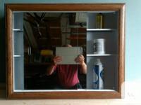 Bathroom medicine cabinet with two (2) sliding mirror