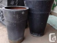 --two fashionable colour-matched zinc planters for