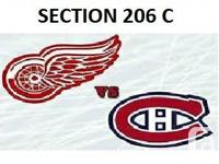 2 Billets Habs vs Red Wings.  VIP Desjardins Section.
