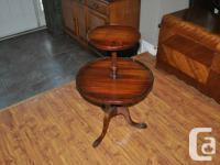2-Tiered Occasional Table. Beautiful Carved Pedestal