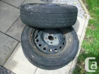 "Used tires, 3-4/32"", on rims to fit Toyota Echo,"