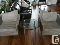 2 Vintage style Arconas chairs with matching glass