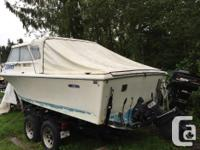 Stable ocean boat with inboard mercury 165 hp motor.