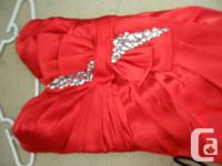 Beautiful red prom dress. Silky sweetheart neckline