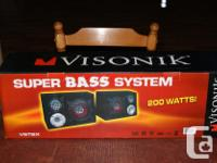 Visonik model V6TBX, 200 Watt speakers and enclosures.