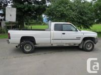 2001 DODGE SLT DIESEL 2500 4X4 QUAD CAB, 5SPD, WHITE