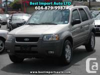 Year: 2001  Make: Ford  Model: Escape  Trim: XLT 4WD