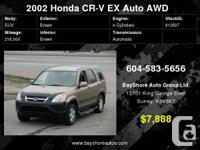 2002 Honda CR-V AWD EX Auto, Comes with 2 years