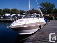 The boat is a Cruiser Yacht 300 Express powered by twin