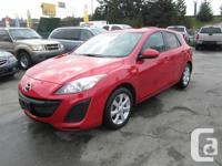 2011 MAZDA 3, RED ON BLACK CLOTH INTERIOR, AUTO, 2.0L,