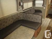 This unit features quad bunks for the kids, u-shaped