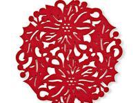 "6 pcs 10"" Cutout Felt Red Poinsettia Table Mat Placemat"