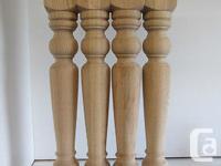Set of 4 Solid Red Oak Turned Harvest Table LegsBuild