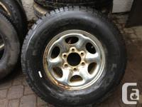 235 75 15 Michelin on 6 bolt Nissan Chrome steelies